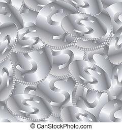 moedas, seamless, fundo, prata