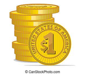 moedas, sinal dólar, dourado