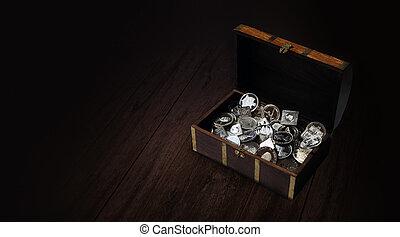 moedas, tesouro, prata