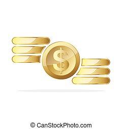 moedas., vetorial, dólar, ouro, ilustração