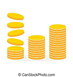moedas., vetorial, pilha, illustration., ouro