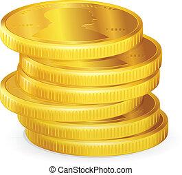 moedas, vetorial, pilhas, ouro