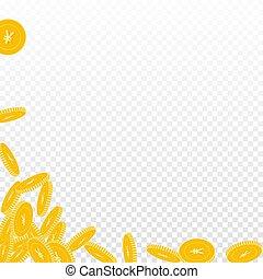 moedas, yuan, falling., grande, moeda, chinês, disperso, cny