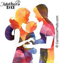 moeder, baby, husband., family., watercolor, haar, silhouette