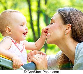 moeder, baby, outdoors., natuur, mooi