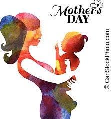 moeder, baby., watercolor, haar, silhouette