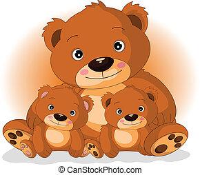 moeder, beer, zonen, bruine , haar