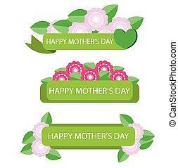 moeder, bloem, ve, dag, etiket
