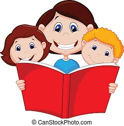 moeder, boek, lezende , spotprent, haar