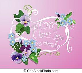 moeder, dag, kaart, met, viooltje, en, vergeet-mij-nietje,...