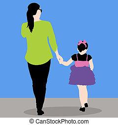 moeder, dochter, holdingshanden