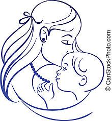 moeder, en, baby., lineair, silhouette, van, moeder, en, haar, kind