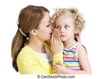 moeder en dochter, delen, een, geheim, het fluisteren