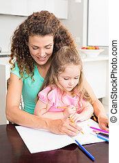 moeder en dochter, het verkleuren, samen, aan tafel