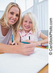 moeder en dochter, tekening, bij lijst