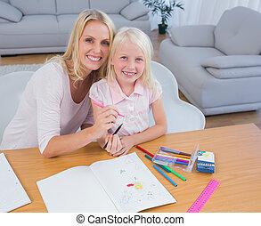 moeder en dochter, tekening, samen