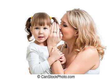 moeder, en, geitje, delen, een, geheim, het fluisteren