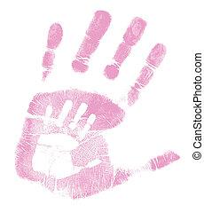 moeder en zoon, handprint, illustratie, ontwerp