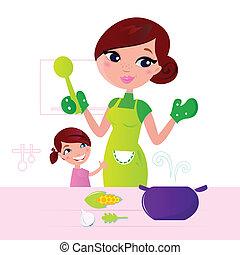 moeder, gezonde , kokend voedsel, kind, keuken