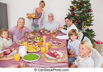 moeder, het brengen, turkije, om te, diner tafel
