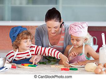 moeder, het op elkaar inwerken, met, kinderen, in, keuken
