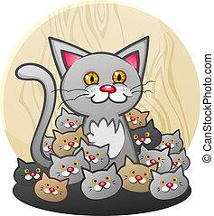 moeder, kat, met, een, afval, van, katjes