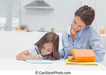moeder, kijken naar, haar, dochter, tekening