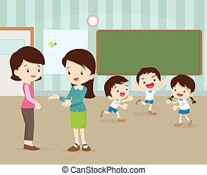 moeder, klesten, jonge, leraar