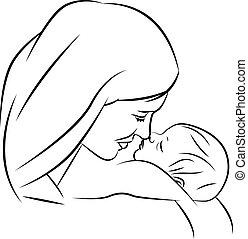 moeder, met, baby, lineair, silhouette, illustraties