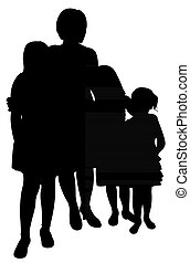 moeder, met, drie, dochter