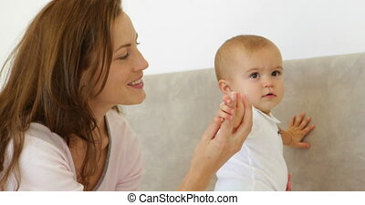 moeder, mooi, spelend, baby, schattig, haar