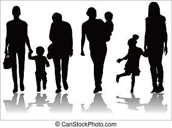 moeder, silhouette, kind