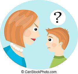 moeder, tussen, conflict, kind