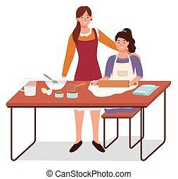 moeder, vector, bakken, dochter, onderwijs, cook