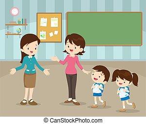 moeder, verzending, kinderen, om te, school
