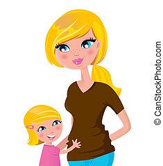 moeder, vrijstaand, schattig, -, dochter, blonde , witte
