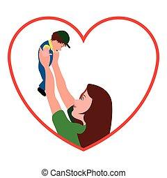 moeder, zoon, vasthouden, haar, pictogram