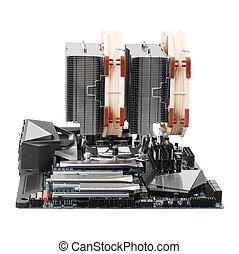moederbord, moderne, two-sectional, radiator, gokken, ...