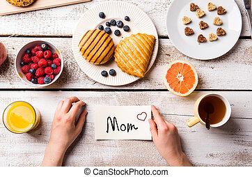 moeders dag, composition., weinig; niet zo(veel), aantekening, en, ontbijt, maaltijd.