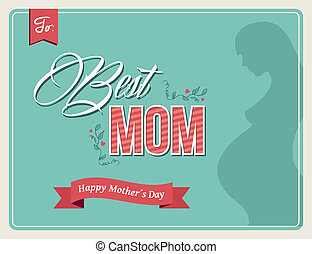 moeders, ouderwetse , groet, kleuren, dag, kaart, vrolijke
