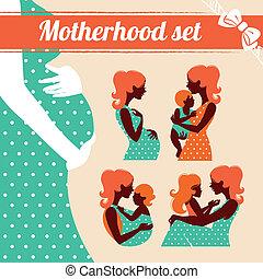 moederschap, set., silhouettes, van, moeder en baby
