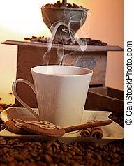 moedor café, fundo, copo