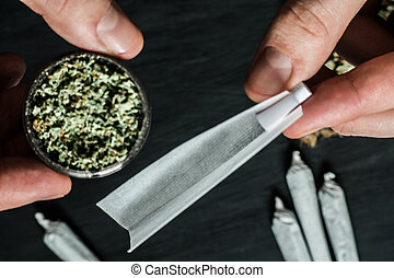 moedor, conjunto, erva daninha, completamente, marijuana, erva daninha, oncepts, jamb, mãos, fumando, rolado, homem