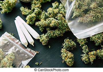 moedor, rolado, marijuana, erva daninha, conjunto, homem