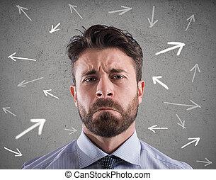 moeilijk, keuzes, van, een, businessman., concept, van, verwarring