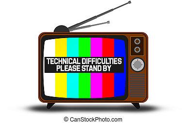 moeilijkheden, waarschuwend, retro, televisie, technisch