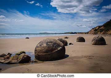 Moeraki boulders geological phenomena - Moeraki boulders, a...
