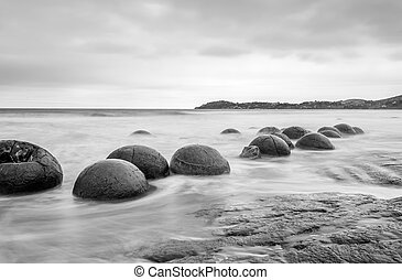 Moeraki boulders - Moeraki Boulders on the Koekohe beach,...