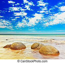 Moeraki Boulders panorama. New Zealand