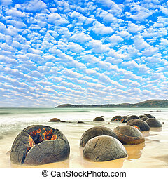 Moeraki Boulders at day time. New Zealand